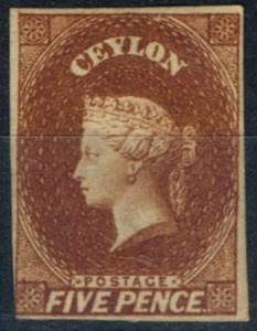 Ceylon 1857 5d Chestnut SG5 Fine & Fresh Unused