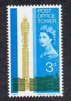 Great Britain 1965 MNH post office tower   3d  #