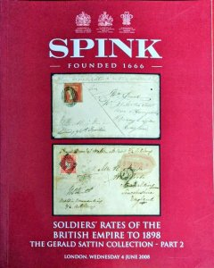 Auction Catalogue SOLDIERS' RATES BRITISH EMPIRE to 1898 Military Mail Sattin