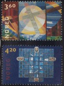 Norway Scott 1268-1269 MNH** Church Art Glass set 2000