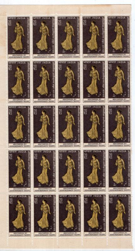 INDIA 1971 BLOCK OF 25 OF ABANINDRANATH TAGORE : ARTIST MNH