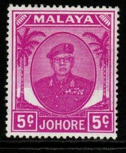 MALAYA JOHORE SG136a 1952 5c BRIGHT PURPLE MTD MINT