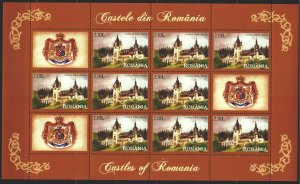 Romania. 2008. Small sheet 6314. Peles castle, architecture, coat of arms. MNH.