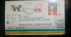 A) 1971, BRAZIL, FROM PORTO ALEGRE TO TEXAS UNITED STATES, AIRMAIL, CANCELATION