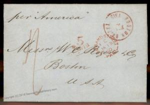 England Britain 1860 Boston MA Steamer America Transatlantic Stampless Cov 77666