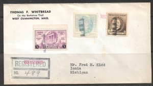 USA 1941 10c Frederic Remington Sc 888 & Others on Registered Corner Card Cover