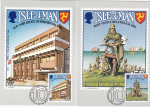 Isle of Man # 250-251, Post Office 10th Anniversary, Maxi Cards, First Day