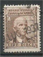 ITALY, 1937, used 10 L, Tassa Di Scambio Regno  Revenue