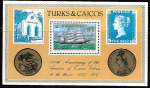 TURKS & CAICOS ISLANDS   728 MNH BARQUE, VICTORIA,  SOUVENIR SHEET 1987