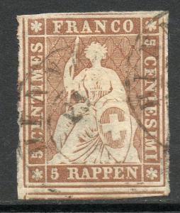 Switzerland Scott #32 Imperf Stamp Used Sound