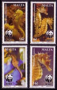 Malta WWF Mediterranean Seahorses 4v SG#1243-1246 SC#1071-1074 MI#1207-1210