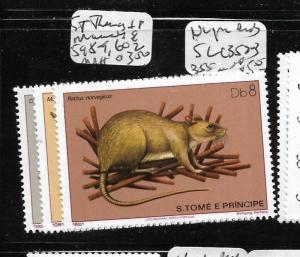 ST THOMAS AND PRINCIPE (P1602B) ANIMALS SC 598-9, 602  MNH