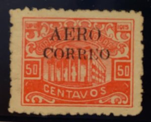 O) 1925 HONDURAS, BONILLA THEATER SCT C8 50c red, AIR POST STAMP, UNUSED EXAMPLE