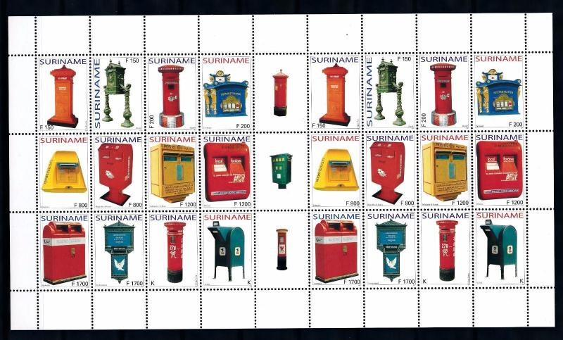 [SUV1253] Surinam Suriname 2004 Mail boxes Miniature Sheet with tab MNH