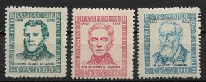 1952 Brazil 721-3 Centenary of Telegraph In Brazil C/S of 3 MH.