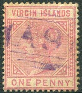 BRITISH VIRGIN ISLANDS-1883 1d Pale Rose Sg 29 GOOD USED V33649