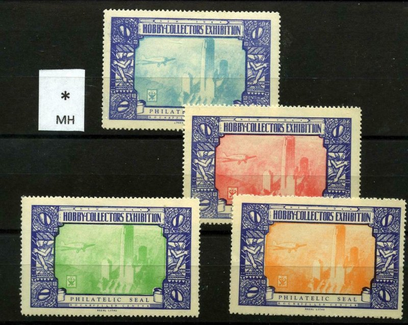 90514 N.Y. HOBBY COLLECTORS ASSOCIATION - SET OF 4 EXHIBITION POSTER STAMPS -