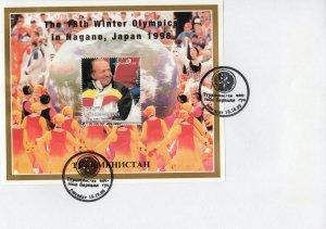 Turkmenistan 1998 YT#Bl.25  Nagano Olympics/King Juan Carlos S/S Perforated FDC
