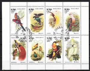 Oman State, 1973 Local issue. Exotic Birds sheet of 8. Canceled. ^