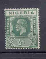 Nigeria Sc 18 1921 1/2d green George V stamp mint