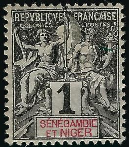 Senegambia & Niger #1 Mint OG F-VF hr...Fill out your French Colony spaces!