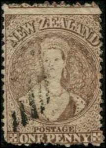 New Zealand SC# 39 Victoria 1d wmk 6 perf 12-1/2 Used SCV $56.00