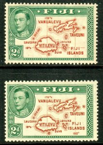Fiji KGVI 1938 2d Brown Green Die I & II SG253/254 Mint Lightly Hinged MLH