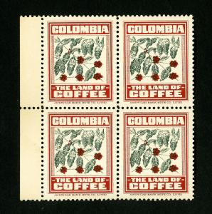 Colombia Stamps XF Coffee Labels in Block 4 OG NH