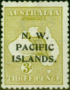 New Guinea 1915 3d Greenish Olive SG76c (B) Fine Lightly Mtd Mint