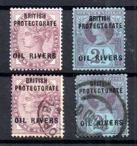 Niger Coast QV 1892 1d & 2 1/2d Oil Rivers mint & used WS16649