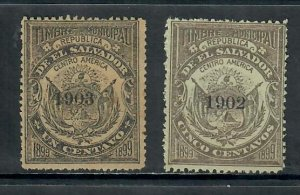 EL SALVADOR 1899 MUNICIPAL STAMPS X 2 OVERPRINTED 1902, 1903 UNUSED
