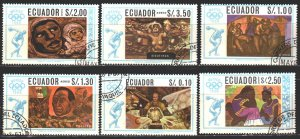Ecuador. 1967. 1313-18. Mexico City, summer olympics, painting. USED.