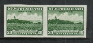 Newfoundland #196a Extra Fine Mint Imperf Pair Full Original Gum Hinged