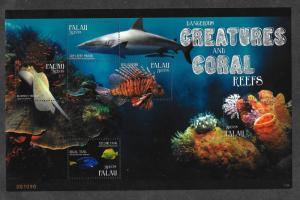 Palau  1072 Mint NH MNH Souvenir Sheet Dangerous Creatures Coral Reefs!