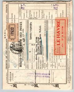 France 1937 Le Harve Parcel Receipt / Stamped Revenue (I) / Creasing - Z13510