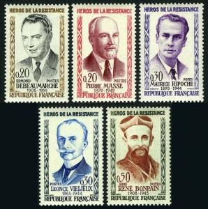 France 959-963, MNH. Heroes of French Underground in WW II, 1960