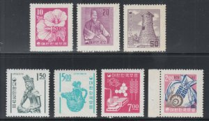 Korea Sc 235/378a MLH/MNH. 1956-1962 issues, 7 different singles, VF