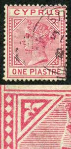Cyprus SG18a 1pi Rose Wmk Crown CA Variety TOP LEFT TRIANGLE DETACHED