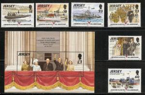 Jersey 710-6 1995 50th Liberation set and s.s. MNH