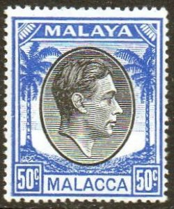 Malacca 1949 50c black and blue MH