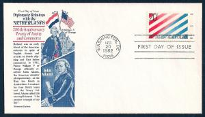 UNITED STATES FDC 20¢ USA-Netherlands 1982 Aristocrats