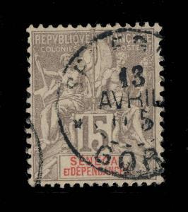 SÉNÉGAL - 1905 - CACHET  SÉNÉGAL /GORÉE SUR N°23 15c GRIS TYPE GROUPE