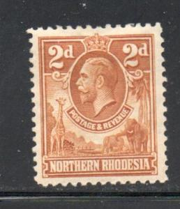 Northern Rhodesia Sc 4 1925 2 d G V & Animals stamp mint