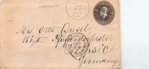 U. S., Scott #U222, 5c Garfield Entire, Sent 2/12/1883 from N.H. to Germany