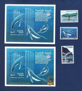 NORFOLK ISLAND - 573-576 & 576a  - VF MNH - Whales - 1995