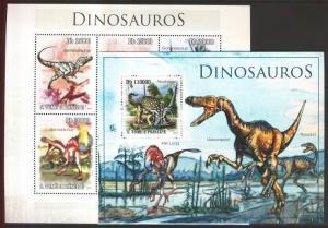 Sao Tomé e Príncipe stamp Dinosaurs mini sheet + block MNH 2010 WS101309