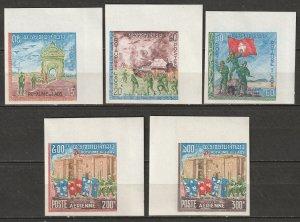Laos 1968 Sc 168-70,C52-3 set imperf MNH**