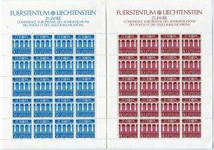 Liechtenstein 779-780 sheets,MNH.Michel 837-838. EUROPE CEPT-1984.Bridge.
