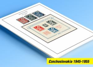 COLOR PRINTED CZECHOSLOVAKIA 1945-1955 STAMP ALBUM PAGES (52 illustrated pages)