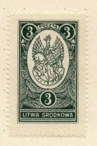 LITHUANIA 1920-22 Early Issue Fine Mint Hinged 3r. NW-07180